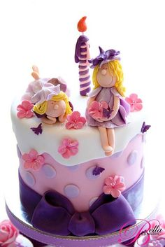 Fairy cake-  like the fondant draping and the fairies - might be able to pull this one off. #FairyCakes,Yummy!