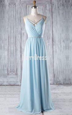 Blue A Line V Neck Chiffon Floor Length Beading Bridesmaid Dress