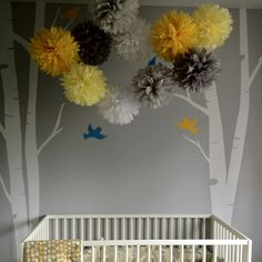 yellow grey gray nursery tissue paper decor poms