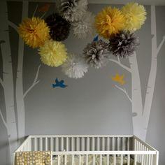 yellow grey gray nursery tissue paper decor poms