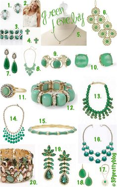 Particularly Practically Pretty: Green with jewelry // green jewelry // emerald accessories //emerald jewelry
