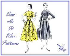 1950s Unused FF Vogue 8516 Flared Dress Dart Fitted Bodice