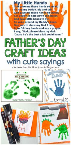 Father's Day Handprint & Footprint Keepsakes with Poems and Sayings About Dads footprint Father's Day Craft Ideas Featuring Poems and Sayings For Dads Diy Father's Day Crafts, Diy Father's Day Gifts Easy, Diy Gifts To Sell, Great Father's Day Gifts, Father's Day Diy, Preschool Crafts, Gifts For Kids, Kids Crafts, Baby Crafts