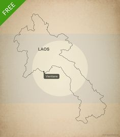 Free vector map of Laos outline - Printable map and editable vector map