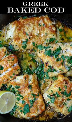 Greek-Style Baked Cod Recipe with Lemon and Garlic! There is a reason thousands of people are raving about this recipe! So much flavor, and a great weeknight dinner! Baked cod, spiced Greek-style and Seafood Dishes, Seafood Recipes, Dinner Recipes, Cooking Recipes, Healthy Recipes, Seafood Platter, Canned Fish Recipes, Fish And Seafood, Holiday Recipes