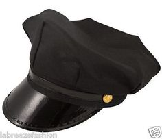 Men s Chauffeur Hat Limo Driver Black Peaked Cap Fancy Dress Costume be33af9fd358