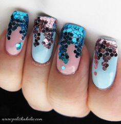 I used Color Club's Take Me To Your Chateau and I Believe In Amour for this with Born Pretty Store hex glitters