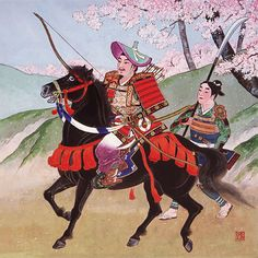 Hachiman Taro Yoshiie (1039-1106) He is son of Minamoto no Yoriyoshi and the general who excels in literary and military arts. The scene where in this picture, he has composed poem with the barrier station and is drawn.