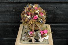 COUNTRY WEDDING Brides Bouquet with Dark Pink Preserved Roses and Rustic Mountain Meadow Dried Flowers 094. $89,00, via Etsy.