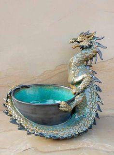 Turquoise Dragon Bowl — Joy Munshower URL is broken. Try http://www.veniceclayartists.com/wp-content/uploads/2016/04/Tile-Goddess-Ceramic-Sculptures.jpg