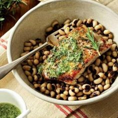 Serve with warm black-eyed beans. Easy Weekday Meals, Seared Tuna, Calamari, Mussels, Prawn, Seafood Recipes, A Food, Food Processor Recipes, Main Dishes