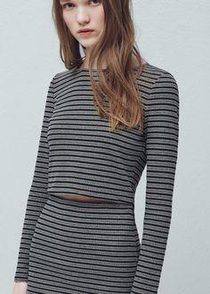 Striped crop t-shirt - T-shirts for Women | MANGO USA