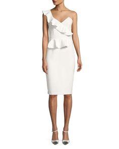 4c8611be494 Bardot White Camilla One Shoulder Ruffle Mid-length Formal Dress Size 8 (M)