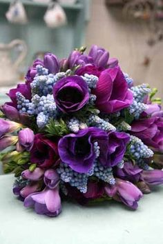 Blue Muscari Hyacinth, Purple Anemones, Fuchsia Anemones, Violet Freesia, Purple Tulips Wedding Bouquet
