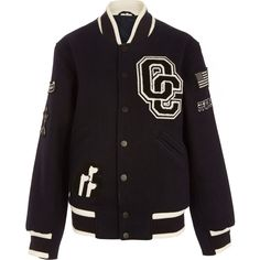 Opening Ceremony Navy Kennel Club Varsity Jacket ($520) ❤ liked on Polyvore featuring outerwear, jackets, coats, navy blue jacket, navy jacket, opening ceremony jacket, navy varsity jacket and navy blue varsity jacket