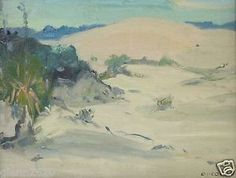 Eanger-Irving-Couse-Oil-Painting-White-Sands-New-Mexico-Signed-framed17-5Hx19inW