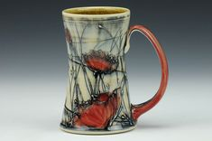 Poppy Bramble Tall Mug by Dawn Candy - Handmade Pottery Mug - Stoneware, wheel thrown, slip trailed and inlaid, stains and glazes - Functional Pottery