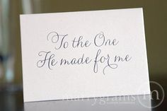 """Wedding Day Marrygrams makes beautiful wedding paper products! Wedding Day Marrygrams makes beautiful wedding paper products! """"To the One He Made for Me"""" Religious Note Card Thin Styl. Before Wedding, Wedding Tips, Trendy Wedding, Unique Weddings, Dream Wedding, Diy Wedding, Wedding Styles, Wedding Quotes, Church Wedding"""