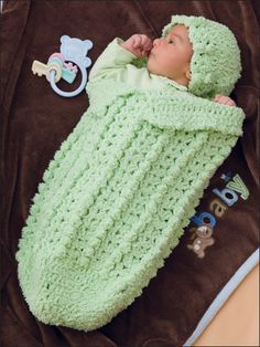 Shell & Popcorn Papoose Set Crochet Pattern Download from e-PatternsCentral.com -- Super-soft yarn makes a safe, cozy nest for Baby to snuggle in!