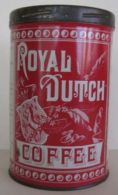 Vintage Royal Dutch Coffee Tin Red White Graphics | eBay