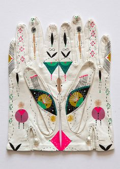 Vintage leather gloves, hand-painted by LA-based artist Bunnie Reiss.