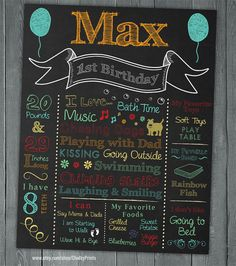 Boy or Girl First Birthday Chalkboard - Chalkboard Sign - Printable Chalkboard Poster - 1st Birthday Deco