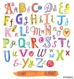 Vektor: Funny watercolor vector alphabet