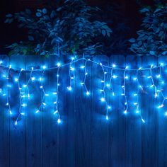 100 blue icicle lights white wire short drops