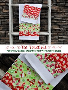 Fort Worth Fabric Studio: Christmas Tea Towels! with Riley Blake Designs Home for the Holidays fabric #rileyblakedesigns #homefortheholidays #doodlebugdesigns