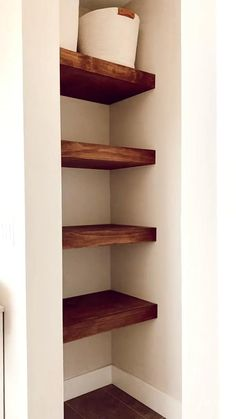 When the shelves just style themselves . Unique Wall Shelves, Diy Wood Shelves, Diy Storage Wall Shelves, Homemade Shelves, Wooden Shelf Design, Corner Shelf Design, Cool Shelves, Walnut Shelves, Wall Shelves Design