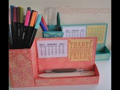 Pencil Pot and Desk Tidy with Stampin' Up! products  i think this would work even better using empty crystal lite container, or similar, for the pen holder portion