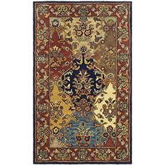 Safavieh Heritage Collection Handmade Multicolored And Burgundy Wool Area Rug 4 Feet By 6 X The Brings
