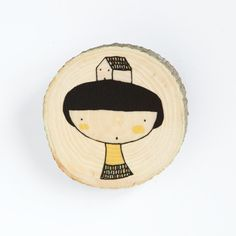 Girl and house - Illustrated wooden brooch.