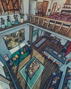 Aesthetic Bedroom, Aesthetic Art, Sims Building, Jr Art, Isometric Art, House Drawing, Scenery Wallpaper, Home Room Design, Anime Scenery