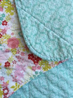 Modern Baby Quilt Floral Baby Quilt Aqua by EthelsGranddaughter Baby Girl Nursery Bedding, Aqua Nursery, Floral Nursery, Quilt Baby, Baby Girl Quilts, Girls Quilts, Free Fabric Swatches, Contemporary Quilts, Floral Fabric