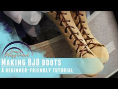 How to make boots for BJDs - Beginner friendly tutorial! How To Make Boots, Doll Patterns, Sewing Patterns, Baby Bib Tutorial, Doll Shoes, Diy Doll, Baby Bibs, Leather Craft, Barbie Dolls