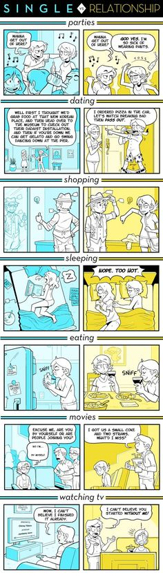 Single vs. Relationship by Caldwell Tanner // my boyfriend and I to a TEE! Except replace sleeping with cuddling
