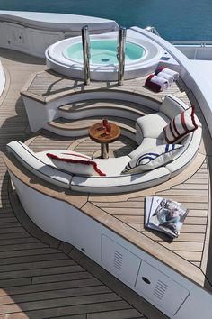 "Lurssen Yachts 257' ""Madsummer"" - Jacuzzi pool + couch/snack table - Follow us & you will follow your dreams http://www.1worldand1vision.com"