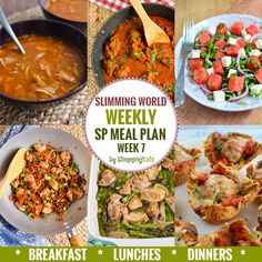 Slimming Eats SP Weekly Meal Plan - Week 7 - Slimming World - taking the work out of planning, so that you can just cook and enjoy the food. astuce recette minceur girl world world recipes world snacks Sp Meals Slimming World, Slimming World Plan, Slimming Eats, Slimming Recipes, Slimming Workd, 7 Day Meal Plan, Diet Meal Plans, Sw Meals, Diet Meals