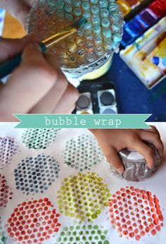 Bubble Wrap Printing for those who have kids who love craft. Okay, so I don't have kids but I love, love bubble wrap. Kids Crafts, Projects For Kids, Diy For Kids, Arts And Crafts, Creative Crafts, Toddler Art, Art Plastique, Teaching Art, Preschool Crafts