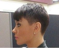 left profile Short tapered pixie