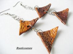 Items similar to HandCrafted Oak Earrings Triangle Bark Earrings Brown Greenish Wooden SilverPlated Chain Earrings Modern Natural Earthy Jewelry on Etsy Stylish Womens Suits, Suits For Women, Japanese Wedding, Precious Children, Wood Rings, Hair Sticks, Chain Earrings, African Dress, Metal Beads