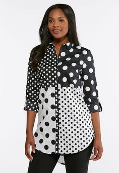 58ec4ec14d4d9 Cato Fashions Plus Size Mixed Dot Button Down Shirt  CatoFashions Cato  Fashion Plus Size