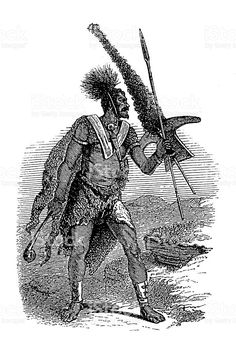 Basotho warrior, South Africa (antique wood engraving) royalty-free stock vector art