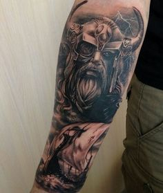 Vikingos - - Killer Sleeve Tattoos for Men - Tatuajes Mayan Tattoos, God Tattoos, Forearm Tattoos, Body Art Tattoos, Polynesian Tattoos, Tattoo Ink, Norse Mythology Tattoo, Norse Tattoo, Viking Tattoo Sleeve