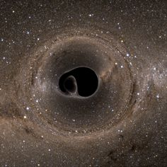 A binary black hole system, viewed edge-on. This pair of extremely dense objects twists and warps spacetime as the two black holes spiral in toward one another. Image Credit: Bohn, Throwe, Hébert, Henriksson, Bunandar, Taylor, Scheel (see http://www.black-holes.org/lensing) via: http://www.universetoday.com/116500/new-simulation-offers-stunning-images-of-black-hole-merger/