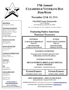 """""""16TH ANNUAL CLEARFIELD VETERANS DAY POW WOW"""" NOVEMBER 12 - NOVEMBER 13, 2016   #Tribal #Arts"""