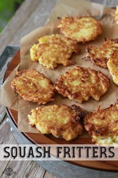 Squash Fritters- Yellow Squash is a staple in many Southern gardens. It's usually pretty easy to grow and rather prolific. If you've got some ext (Bake Squash Recipes) Side Dish Recipes, Vegetable Recipes, Vegetarian Recipes, Healthy Recipes, Healthy Southern Recipes, Southern Food, Top Recipes, Curry Recipes, Dessert Recipes