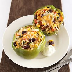 Mexican Poblano Stuffed Peppers - just 10 minutes of hands-on time! Clean Eating.