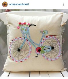 Instagram @artesanatobrasil - fabric bicycle applique & embroidered pillow